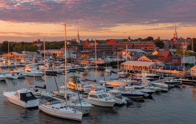 newburyport harbor at sunset
