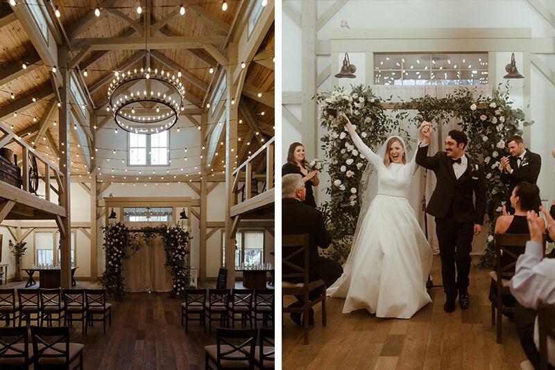 indoor barn ceremony at briar barn inn