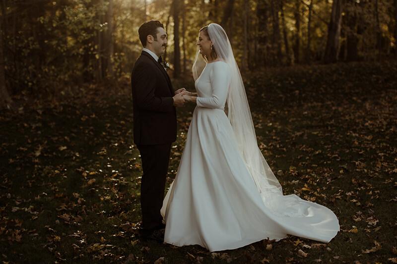 bride and groom late fall at briar barn inn
