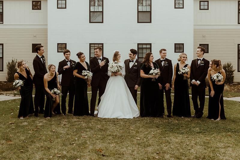 wedding party at briar barn inn in fall